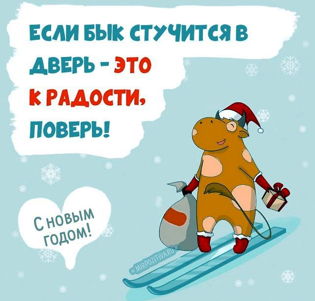 """Открытка: мультяшный бычок на лыжах. Надпись: """"Если бык стучится в дверь – это к радости, поверь!"""""""